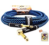 SRADIO Guitar Instrument Cable 20 Foot, AMP Cord Right Angle 1/4-Inch TS to Straight 1/4-Inch TS Guitar Cable 20FT with Blue Tweed Cloth for Electric Guitar,Bass,Keyboard