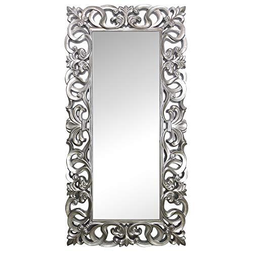 La Fabrica del Cuadro Espejo Decorativo de Pared, Barroco, Modelo Goya - Medida Exterior 88x178 cm, Medida de Espejo 48x138 cm … (Plata)