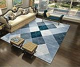 Rug A Pelo Corto Moderno Salotto Mat con Antiscivolo Facile da Pulire per Arredamento Interno Tappeto Geometria rombo multicolore blu 100X160CM(3.3ft x 5.2ft)