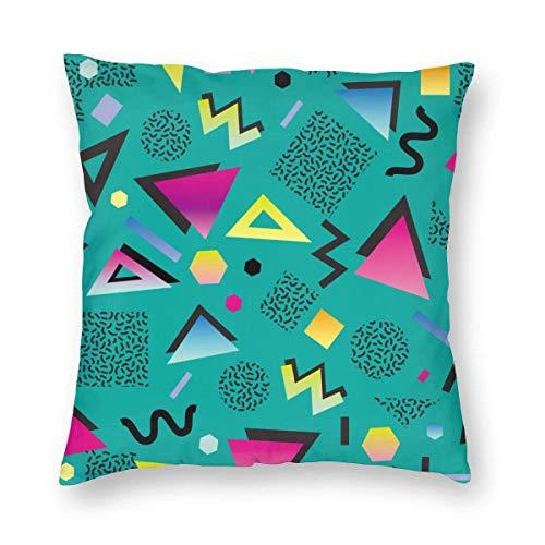 Funda de almohada impresa con diseño de dos lados, colorida década de 1980 Retro Vintage 80s 90s Estilo abstracto Buen diseño y verde 1990 Funda de almohada cuadrada Funda de cojín para sofá Sofá Deco