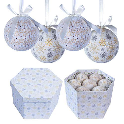 The Christmas Workshop 14-Piece 75 mm Frost/ Snow Design Decoupage Baubles
