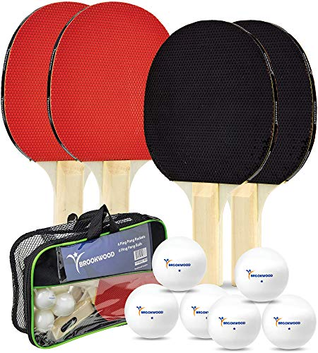Brookwood Supplies 4 Player Table Tennis Set – 4 Ping Pong Paddles 6 1Star Balls  DoubleSided 5 Ply Rackets with Rubber Pimples Out Pads and Straight Handle – Bonus Storage Bag