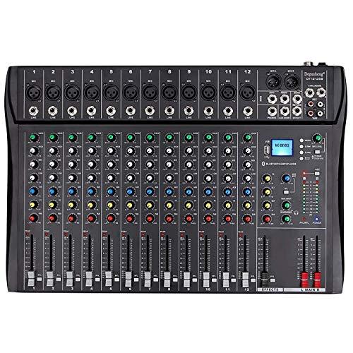 Depusheng Professional 12 Channel Bluetooth DJ Mixing Console Karaoke Amplifier Digital KTV Sound Mixer with USB