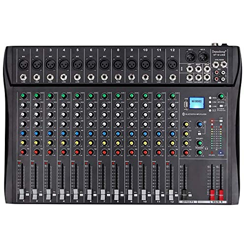 Depusheng Professional 12 Channel Bluetooth DJ Mixing Console Karaoke Amplifier Digital KTV Sound Mixer with USB