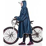 QIAN レインコート 自転車 メンズ レディース 雨具 レインポンチョ ポンチョ 通学通勤 軽量 完全防水 防汚 防風 男女兼用(ブルー色)