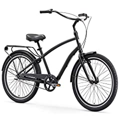 Versatile men's hybrid cruiser bicycle with 19-inch swooping step-through aluminum frame; perfect for cruise, leisure, and commute rides Upright riding style keeps your back and shoulders comfortable; foot-forward design helps maintain proper leg ext...
