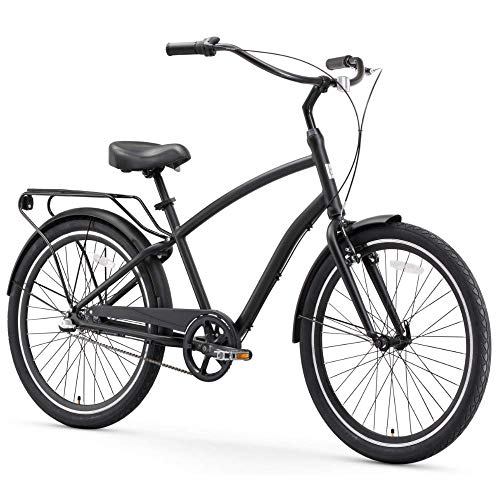 Read About sixthreezero EVRYjourney Men's 3-Speed Hybrid Cruiser Bicycle, Matte Black w/Black Seat/G...