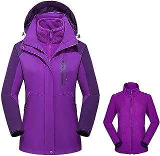 FYXKGLa Women's Outdoor Detachable Two-Piece Jacket Windproof Warm Hiking Jacket (Color : Purple, Size : XXXXXL)