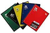 1 Subject College Ruled Spiral Notebook Solid Colors Perforated Edge 70 Sheet Pack of 5