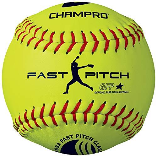 Champro Synthetischer USSSA Fast Pitch Ball, Optic Yellow, 27,9 cm (EIN Dutzend)
