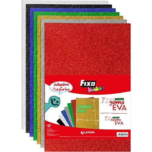Fixo Kids 68015999. Bolsa de 7 Láminas de Goma EVA Purpurina, Colores Surtidos, 20x30cm, 2mm de Grosor, Perfectas para Manualidades Escolares