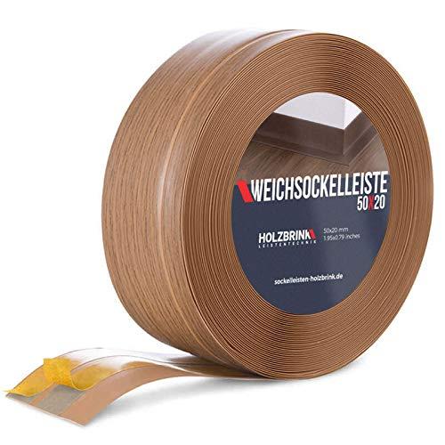 HOLZBRINK Rodapiés flexible autoadhesivo Roble Oscuro Rodapiés flexible 50x20 mm, 5 m Zócalo...