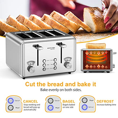 Toaster 4 Slice, whall 4 Extra Wide Slots Stainless Steel Toaster - 6 Bread Shade Settings,Bagel/Defrost/Reheat/Cancel Function with Dual Control Panels, Removable Crumb Tray, for Various Bread Types (1500W,Sliver)