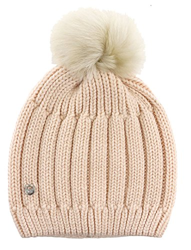 UGG Womens Solid Ribbed Beanie With Toscana Pom In Freshwater Pearl