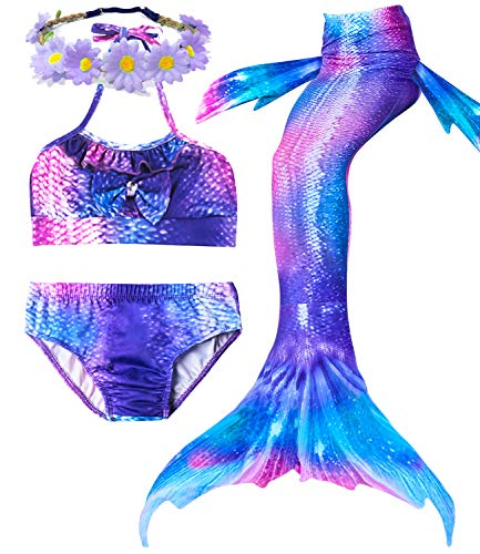 Camlinbo 3Pcs Girls Swimsuits Mermaid for Swimming Mermaid Costume Bikini Set for Big Girls Birthday Gift 3-14 Years (Child XX-Large/10-12/Tag 150, 11)