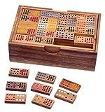 LOGOPLAY Domino Doppel 15 - Legespiel - Gesellschaftsspiel aus Holz mit 136 Spielsteinen -