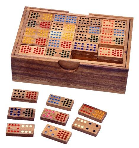 Domino Doppel 15 - Legespiel - Gesellschaftsspiel aus Holz mit 136 Spielsteinen
