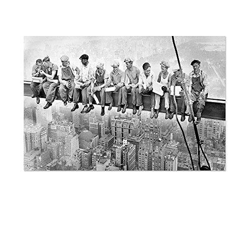 Leinwandbild Panorama Skylunch Keilrahmenbild, Bild auf Leinwand, Retro Foto Mittagspause auf einem Wolkenkratzer (120x80cm), Lunch atop a Skyscraper