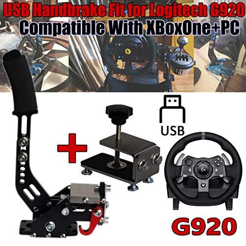 Obokidly Frein à main 2 en 1 14 bits USB avec support de serrage G920 compatible avec Xbox One et PC pour SimRacing Game Sim Rig (Noir)