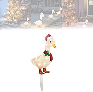Hengyuan Garden Light-Up Duck Decor with Scarf, Metal LED Duck Stakes Christmas Ornament, Outdoor Holiday Decorations for ...