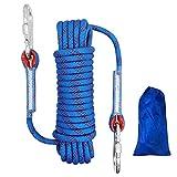 Cuerda de Escalada al Aire Libre Cuerda de Escalada Estática de 10mm de Diámetro, Cuerda de Nylon Trenzada de Alta Resistencia, Cuerda de Paracaídas de Rescate con 2 Mosquetones, Azul Longitud 10m