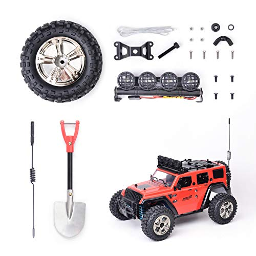 LED Light for Rc Car Trucks,Accessories Tool Set Kit for RC Rock Crawler,Simulation Decoration Accessory Wheel,Rc Truck Light Kit, Rc Car Headlights,Metal Shovel,Signal Pole,RC Car Replacement Parts