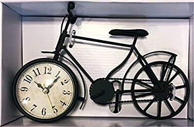 Black Retro Bicycle Battery Operated Tabletop Analog Clock