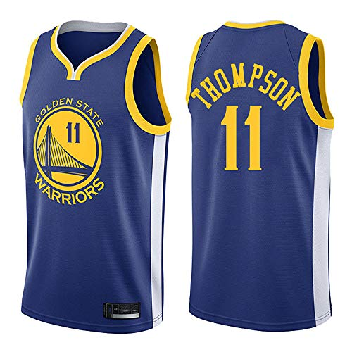 BXWA-Sports Jersey de Baloncesto para Hombre, NBA Warriors # 11 Klay Thompson Basketball Uniforme cómodo Malla Transpirable Bordado Retro sin Mangas Deportivo Chaleco,A,L