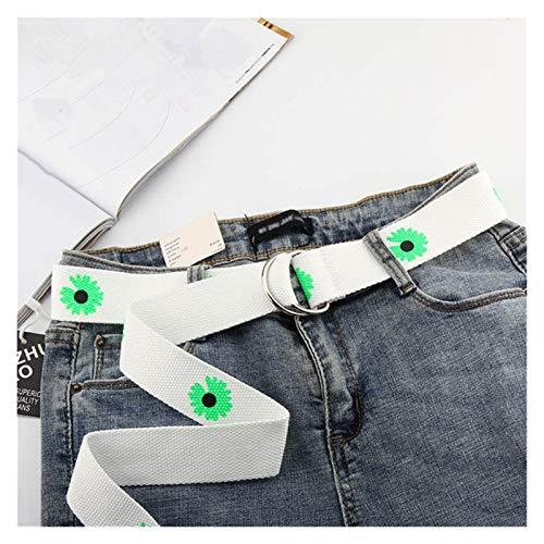 DSJTCH Mujeres Cinturones de Lona Doble Anillo Hebilla Cintura Larga Correa Jeans Vestido Casual Hembra cinturón (Belt Length : 130cm, Color : White)