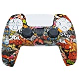 PS5 Silicone Gel Grip Controller Cover Skin Protector (Red Graffiti Skulls) Compatible for Sony PlayStation 5, Compatible for PlayStation 5 Accessories, Wireless Controller Protector Covers, PS5 Skin