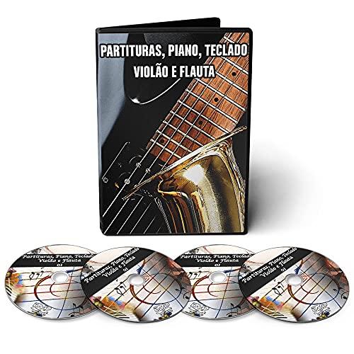 20.000 Partituras para Piano Teclado Guitarra Violão Violino Flauta em 04 DVDs