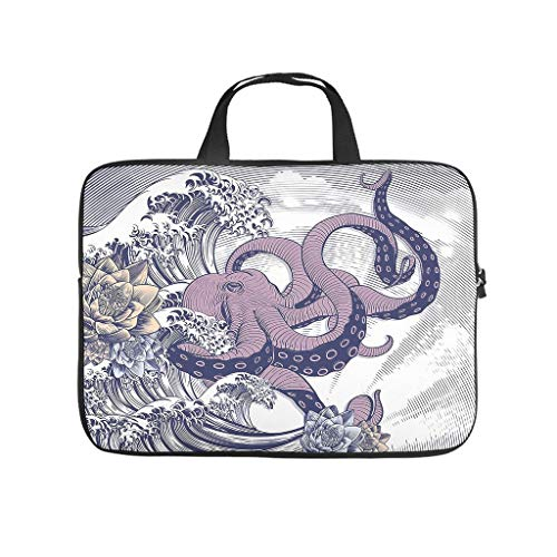 Laptop Computer and Tablet Shoulder Bag Japanese Wave Octopus small cute messenger bag for the Business Professional Travel Commuter white 13 zoll