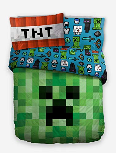 CnA Stores - Minecrft Creeper Single Duvet Cover Reversible Green Poly Cotton Bedding Set with Pillowcase