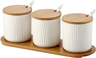 WZHZJ Bamboo Cover Spice Jar Matte Rond Assaisonnement Céramique Jars sel Polyvalent Sucre Maison MSG Boîtes de Rangement ...