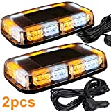 ASPL 2pcs 48LED Roof Top Strobe Lights, High Visibility Emergency Safety Warning LED Mini Strobe Light bar with Magnetic Base for 12-24V Snow Plow, Trucks, Construction Vehicles (Amber/White)