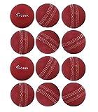 Kosma Pelota de viento de críquet con costuras centrales para una posición correcta de los dedos cuando bolos, apto para interiores y exteriores, paquete de 12 unidades, rojo con costuras blancas)