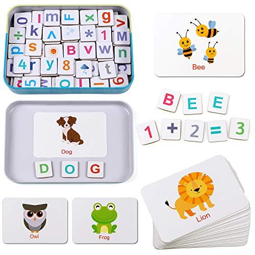 Lewo Lettere e Numeri Magnetici Lettere in Legno Magneti Frigo per Bambini Montessori Giocattoli Educativi Giocattoli Puzzle Bambino 3 4 5 6 Anni Bambini Ragazzo Ragazza
