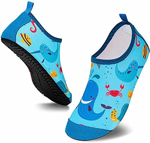 Scarpe da Acqua per Bambini Antiscivolo Scarpe da Mare da Spiaggia da Immersione per Sportive Aqua Sock Rapida Asciugatura Blu EU 28/29
