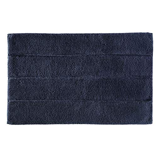Price comparison product image iDesign Stripe Bathroom Mat,  Rectangle-Shaped Small Rug Made of Cotton,  Navy Blue,  53.3 cm x 86.4 cm