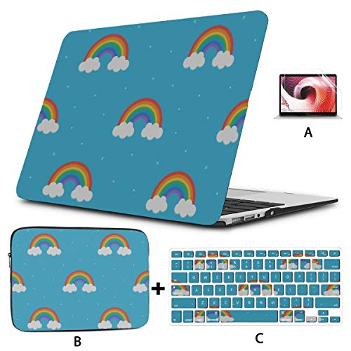 Macbook Pro 15inch Case Cute Cartoon Creative Colorful Rainbow Mac Book Pro Cases Hard Shell Mac Air 11'/13' Pro 13'/15'/16' With Notebook Sleeve Bag For Macbook 2008-2020 Version