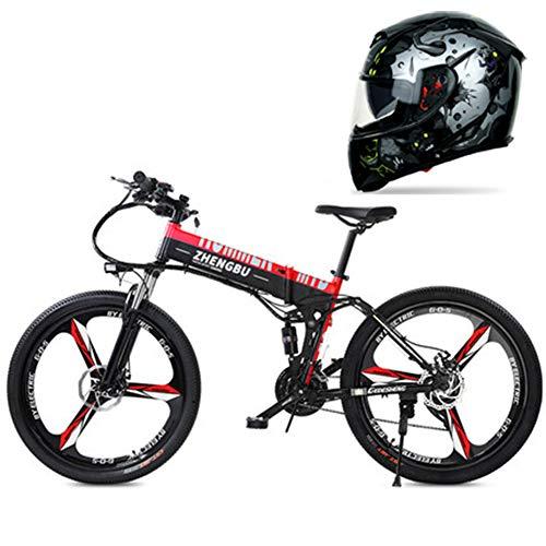Hxl Elektrische mountainbike, 26 inch, schijfremmen en verende vork, lithium-ion-accu met grote capaciteit (48 V, 250 W), inklapbare fiets