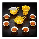 Without Cerámica Blcak Glaze Cerámica Cerámica Kung Fu Tea Set Home Travel Office Tetera Tazas de té (Color : Clear)
