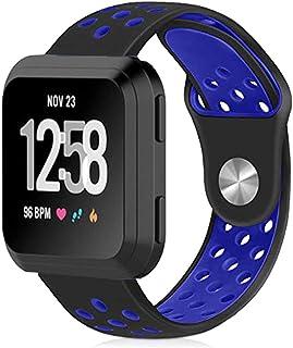 対応Fitbit Versa バンドシリコーン製Fitbit Versa 2/Lite/SE バンド/ベルト 交換用バンドスポーツ 柔らかいシリコンバンド超薄 簡単装着 多色選択 交換ベルド (ブラックブルー)