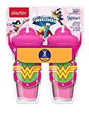 Playtex Sipsters Stage 3 DC Super Friends Wonder Woman Spill-Proof, Leak-Proof, Break-Proof Insulated Toddler Straw Sippy Cups - 9 Ounce - 2 Count