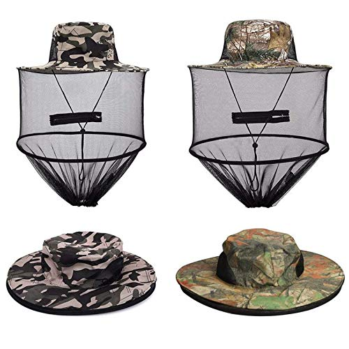VIPITH 2 Pack Mosquito Head Net Hat, Sun Hat Bucket Hat with Hidden Net Mesh Mask for Outdoor Lover Fishing Hiking Gardening Beekeeping Men or Women ArmyGreen