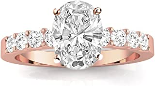 1.3 CTW Classic Prong Set Diamond Engagement Ring w/ 0.75 Ct GIA Certified Oval Cut K Color SI1-SI2 Clarity Center