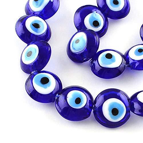 Nazar Boncuk Lot de 12 perles rondes œil bleu 16 mm porte-bo