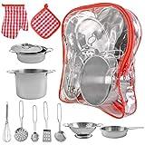 ISO TRADE Kinder-Küchen-Set mit Töpfen und Pfannen Spielset aus Edelstahl 9438