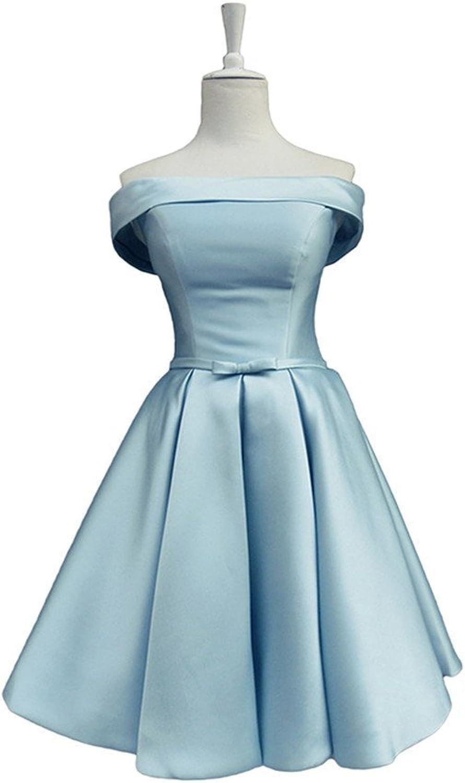 Off the Shoulder Short Satin Girl's Prom Dresses
