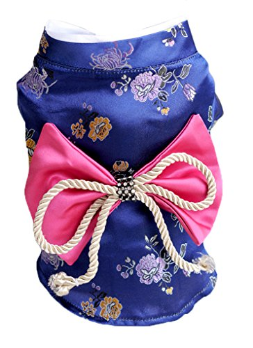 Topsung Dog Clothes Kimono Style Costume Dog Princess Bowknot Dress Clothes for Small Dogs/Cats Purple S